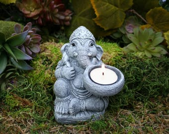 Ganesha Statue - Ganesh with Offering Bowl or Tea Light Candle Holder - Ganpati Diya Deepak Concrete Art - Outdoor Decor