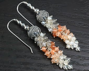 Peach Grey White Moonstone cluster dangle 925 Silver earrings ... LUMI Earrings