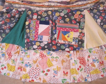 patchwork couture  Altered Bib Apron - Lot Vintage Fabric - Collage Clothing - Wearable Folk Art -myBonny random recycled remnants scraps
