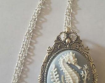 Seahorse, Seahorse necklace, Seahorse jewelry, Cameo, Cameo Jewelry, Ready to ship, Seahorse brooch, brooch