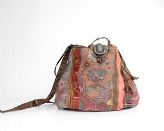 Vintage 80s Leather Cinch Bag | Floral Tapestry and Leather Purse | Mixed Media Boho Shoulder Bag