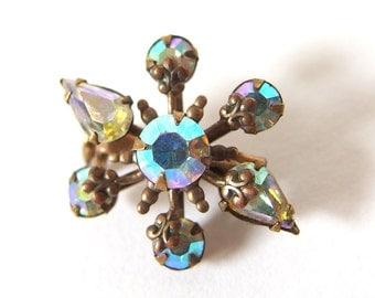 Vintage Aurora Borealis Rhinestone Brooch, Small Snowflake Pin, Unsigned