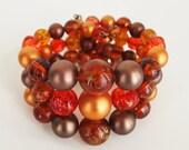 Vintage Golden Orange Triple Bead Strand Coil Bracelet