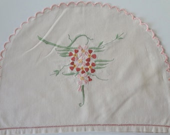 Vintage Tea Cozy Embroidered Flowers Shades Pink Rose Teapot Cosy Cover Pink Scalloped Edges onNatural Cotton - EnglishPreserves