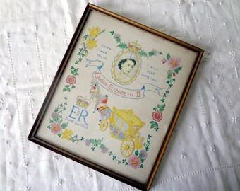 Vintage Coronation Framed Sampler Queen Elizabeth Coronation 1953 Hand Painted Keepsake with Provenance - EnglishPreserves