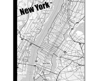 NEW YORK Map Canvas, Black and White New York Wall Decor