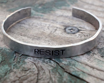 Resist Cuff, Hammered Aluminum, Political Statement, Resistance,Protest Jewelry