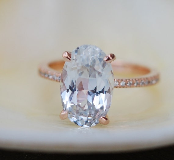 Blake Lively ring. White Sapphire Engagement Ring. Oval cut. 14k rose gold diamond ring 5.33ct white sapphire ring
