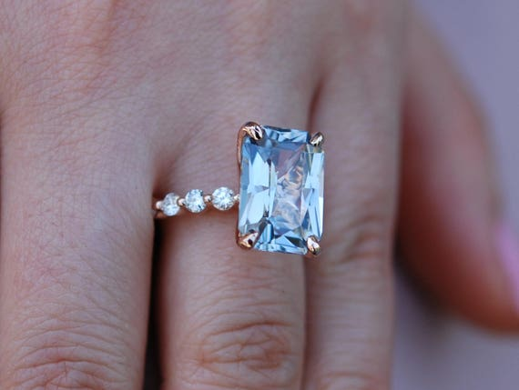 7.2ct Blake Lively ring Rose Gold Engagement Ring Blue sapphire engagement ring One of a kind ring Sapphire Emerald cut ring Engagement ring