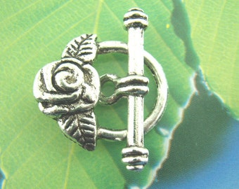 5 Elegant Rose Flower Toggle Clasp Antique Silver Toggles 23mm x 19mm F283A