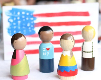 Wooden Peg Dolls // Children of the World // Educational Toys International Dolls Multicultural Fair Trade Toys