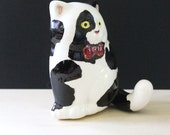 RESERVED for STELLA  Smiling cat. Vintage ceramic wall hook.