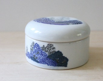 Blue Forest. Little stoneware lidded jar.