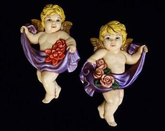 60's CHERUB angels // chalkware wall hangings // kitsch cottage chic // shabby retro angels
