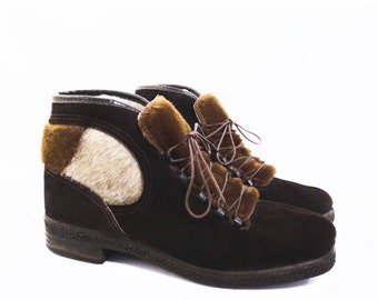 60's retro APRES SKI boots // lace up suede boots // vintage faux fur winter boots // made in Italy // women's size 6