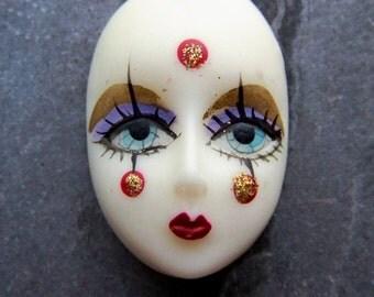 Face Cabochon, Harlequin, Doll Face, Oval Cabochon, Resin Cabochon, Handpainted, Korean, Flat Back, 1 Cabochon