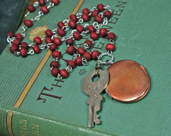 Copper Locket, Vintage Key and Rosewood Rosary Necklace
