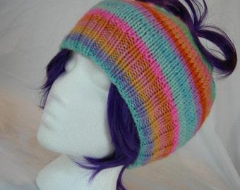 Messy Bun Ponytail hat Cashmere blend beanie stripes hand knit hand dyed luxury yarn winter hat rainbow