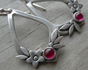Summer Happiness Ruby Sterling Silver Earrings July Birthstone PMC Artisan Jewelry
