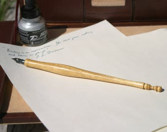 Dip Pen / Nib Pen/ Calligraphy Pen - Handturned Pau Amarello