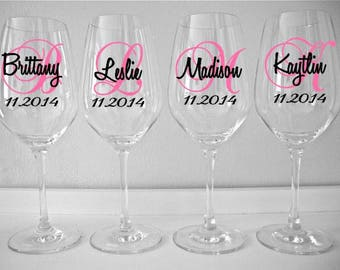 Personalized Monogram Wine Glasses Decal, Wedding Wine Glasses Decal, Bridal Party Wine Glass Decals, Glasses NOT Included