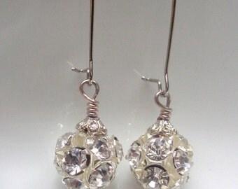 Crystal Ball Earrings  Crystal Earrings, Sparkly Ball Earrings, Kidney Earrings, Bridesmaid Earrings