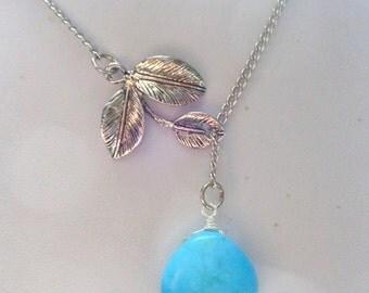 Turquoise Necklace, Gemstone Necklace Necklace, Blue Necklace, Lariat Necklace