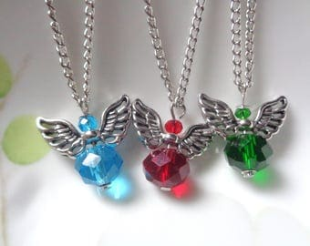 Angel Necklace,  Angel Wings Necklace, Green Necklace, Red Necklace  Blue Necklace, Wing Necklace SALE