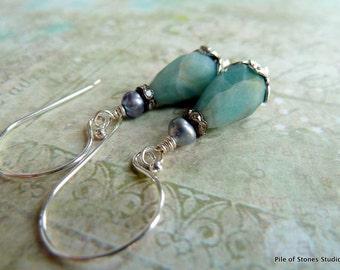 Lady Clarice* Earrings Amazonite Pearl & Sterling Earrings Aqua Blue Teardrop Earrings Blue Grey Pearls Rhinestone Faceted Stone Earrings