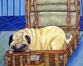 30% off Pug in a Suitcase Dog Art Tile