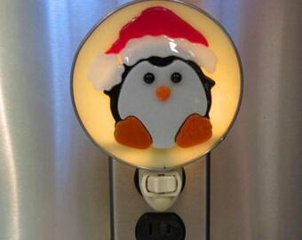 Penguin Night Light with Santa Hat- Glass Penguin Nightlight - Fused Glass Penguin with Santa Hat