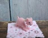 TINY Pig in a Blanket Adorable Baby Piggy Miniature Piglet Farm Animals Needle Felted Birthday Lovinclaydolls Lisa Haldeman Doll