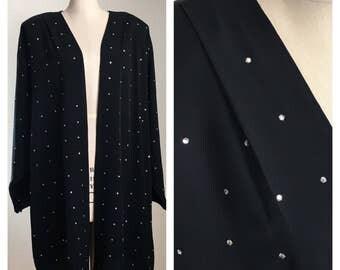 80s Black Rhinestone Padded Shoulder Dolman Sleeve Open Jacket Blazer, Plus Size