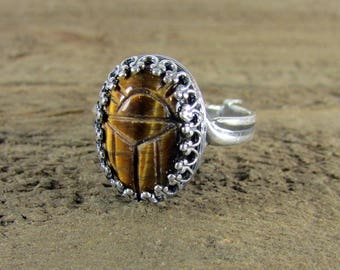 Egyptian Scarab Tiger Eye Ring, Egyptian Jewelry, Gemstone Rings