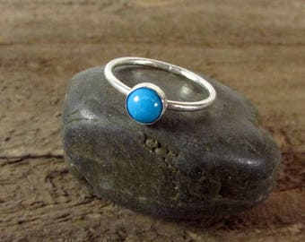 Sleeping Beauty Turquoise Ring, Simple Turquoise Sterling Silver Ring