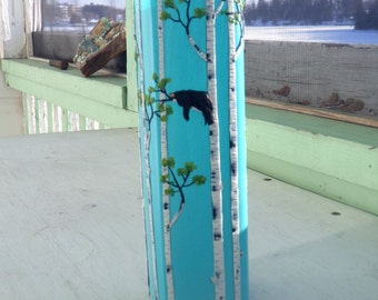 Sleepy Black Bear in a Birch Tree Woodland Sculpted with Polymer Clay onto a Recycled Glass Art Vase in Light Turquoise