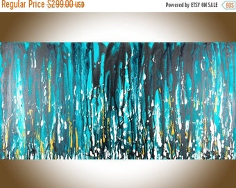 """Abstract painting Turquoise gold black white Original painting large wall art acrylic canvas art gift for men """"Meteor Shower"""" by QiQiGallery"""