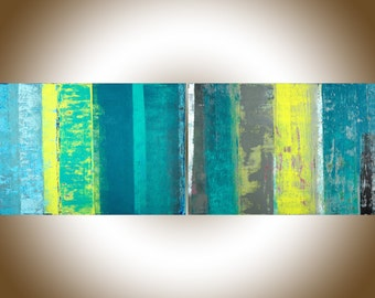 "72"" extra large wall art Abstract painting original artwork painting on canvas home decor turquoise blue green yellow grey by qiqigallery"