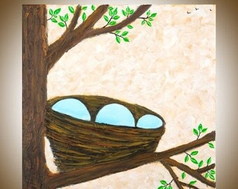 """Birds nest Square painting wall art wall decor wall hangings gift for couple oil painting on canvas """"New Life"""" by qiqigallery"""