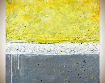"Yellow grey wall art abstract art Original oil painting home decor wall decor wall hanging "" sunshine"" by qiqigallery"