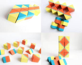 Wooden blocks set: set of 12 hand painted wooden blocks set small blocks