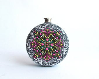 Round  Flask: Hand Painted 10 fl oz Stainless Steel flask Wedding gift Groomsman Groom Hot pink and black