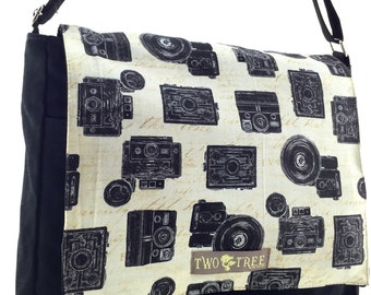 Black VINTAGE CAMERAS MeSSENGER ipad Laptop Diaper BAG
