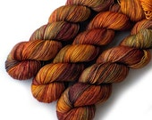 Sock Yarn Tight Twist Handdyed Yarn Merino Cashmere Nylon Fingering - Golden Oak, 400 yards