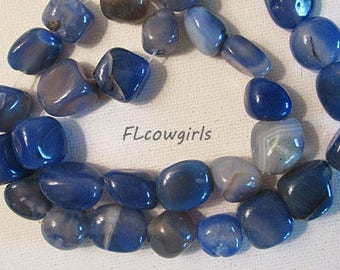 Agate Beads, Blue Nugget, 14-19mm, Polished, Loose Beads, 1mm Hole, QTY 17 - gm638