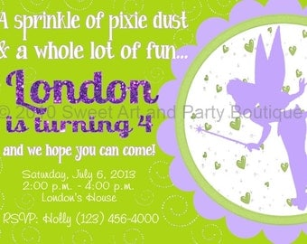 Tinker Fairy Custom Personalized Birthday Party Invitation design DIY you print digital Printable birthday girl green lavender