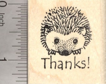 Thank You Hedgehog Rubber Stamp D7823 Wood Mounted