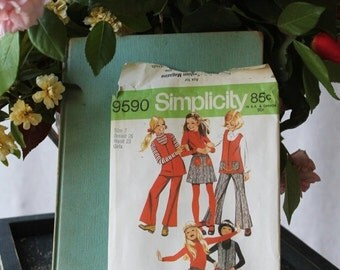 50% off Holiday Sale Retro Girls Bell Bottom Pant Set Simplicity pattern 9590 size 7