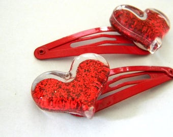 Red Glitter Heart Hair Clips Set of Two Red Hair Clip Metal Snap Barrette 50mm