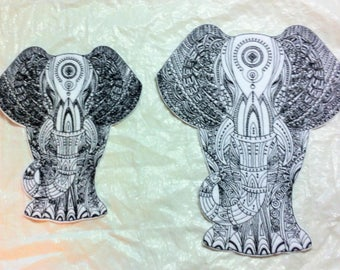 Wonderfully Detailed Elephant embroidered Iron on Applique -  Hand Crafted in USA - 2 sizes - FREE SHIPPING
